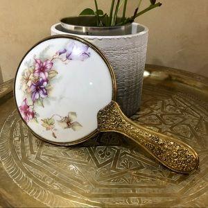 VINTAGE Hand Held Floral Vanity Mirror